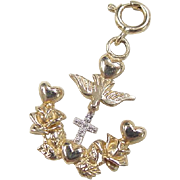 Vintage 14k Gold Two-Tone Religious Cross Dove Charm
