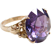 Retro 14k Gold Big 15.50 Carat Fancy Cut Alexandrite Ring