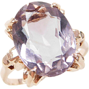 Retro 14k Rose Gold 7.42 Carat Amethyst Ring