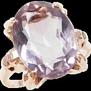 Retro 14k Rose Gold 7.42 Carat Amethyst Ring