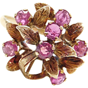 Retro 14k Gold 1.60 ctw Ruby Flower Ring