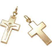 Vintage 14k Gold Reversible Crucifix / Cross Pendant