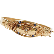 Victorian Revival Seed Pearl and Sapphire Hinged Bangle Bracelet 14k Gold