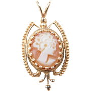 Victorian Revival 14k Gold Cameo Pendant