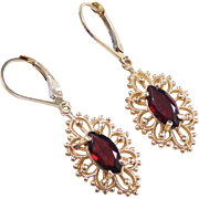 Victorian Revival 14k Gold 2.40 ctw Ornate Garnet Marquise Earrings ~ Lever Backs