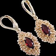 Victorian Revival 14k Gold 2.40 ctw Ornate Garnet Marquise Earrings ~ Lever Backs