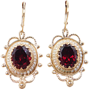 Victorian Revival 14k Gold Garnet and Seed Pearl Earrings