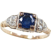 Art Deco 14k Gold Two-Tone .76 ctw Sapphire and Diamond Ring