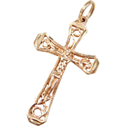 Vintage 14k Rose Gold Crucifix Cross Pendant