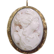 Edwardian 10k Rose Gold Carved Shell Cameo Pendant / Pin