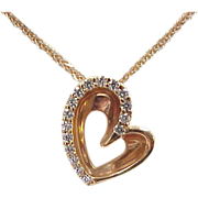 Vintage 18k Rose Gold .16 ctw Diamond Heart Necklace ~ 18""