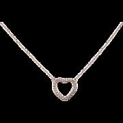 "14k Rose Gold .14 ctw Diamond Heart Necklace ~ 18 1/2"""