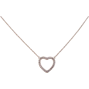 14k Rose Gold .14 ctw Diamond Heart Necklace ~ 18 1/2""