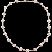 """Vintage 14k ROSE Gold Pink Cultured Pearl Station Necklace ~ 18"""""""