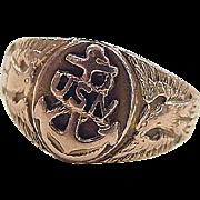 Vintage 10k Rose Gold United States Navy Ring