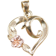 Vintage 14k Gold Two-Tone Heart and Rose / Flower Charm