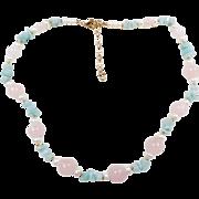 "Gold Vermeil Rose Quartz, Cultured Pearl and Aventurine Bead Necklace ~ 19"" - 21"""