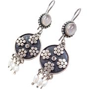 Sterling Silver Rose Quartz and Freshwater Pearl Dangle Earrings