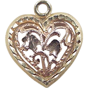 Vintage 14k Two-Tone Heart and Flower Charm