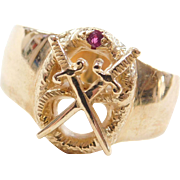 Vintage 14k Gold Gents Ruby Crossed Swords and Snake Crest Ring