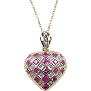 Vintage 14k Gold 1.27 ctw Ruby and Diamond Heart Necklace