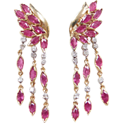 Vintage 14k Gold 3.82 ctw Ruby and Diamond Wing Earrings