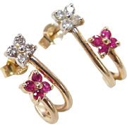 Vintage 14k Gold .28 ctw Ruby and Diamond Earrings