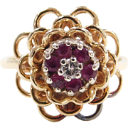 Vintage 14k Gold .22 ctw Ruby and Diamond Flower Ring