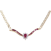 Vintage 14k Gold 1.32 ctw Natural Ruby and Diamond Necklace ~ Two-Tone