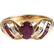 Vintage 14k Gold 1.45 ctw Ruby and Diamond Ring