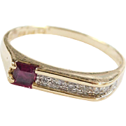 Vintage 14k Gold .34 ctw Ruby and Diamond Ring  ~ Two-Tone