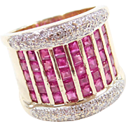 Vintage 14k Gold WIDE 3.51 ctw Ruby and Diamond Ring ~ Two-Tone