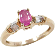 Vintage 14k Gold Two-Tone Ruby and Diamond Ring