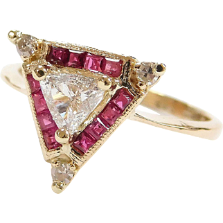 Unique 14k Gold Natural Ruby and Trillion Diamond Triangle Ring
