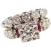 1940-50's 14k White Gold 1.09 ctw Ruby and Diamond Engagement Ring and Wedding Band Set