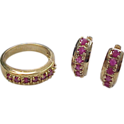 Vintage Gold Vermeil Natural Ruby Huggie Hoop Earrings and Ring Set