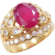Vintage 18k Gold Ruby and Faux Diamond Ring