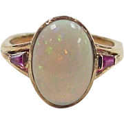 Vintage 14k Gold Ruby and Opal Ring
