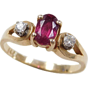 Vintage 14k Gold .68 ctw Ruby and Diamond Ring