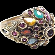 Retro 14k Gold Colorful Gemstone Ring
