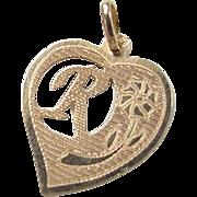 Vintage 14k Gold Letter R Heart Charm