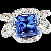 Stunning Custom 18k White Gold 4.93 Carat Lab Created Sapphire and Diamond Ring
