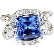 Stunning Custom 18k White Gold 4.93 Carat Lab Created Sapphire and Diamond Ring