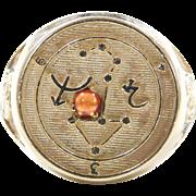 Vintage 14k Gold Sagittarius Ring with Garnet Accent
