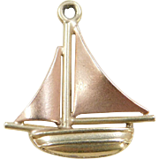 Vintage 14k Gold Two-Tone Sailboat Charm