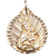 Vintage 14k Gold Saint Christopher Charm / Medallion