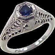 Vintage 18k White Gold .25 Carat Sapphire Ring