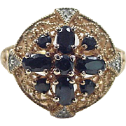 Vintage Gold Vermeil Sapphire and Diamond Ring