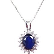 Vintage 14k White Gold 2.20 Carat Sapphire and Diamond Necklace