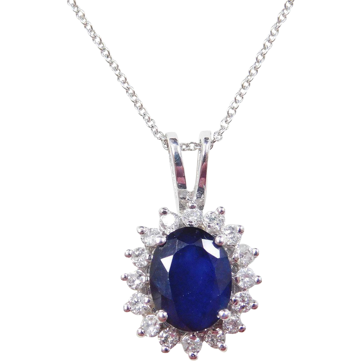 Vintage 14k White Gold 2 20 Carat Sapphire And Diamond